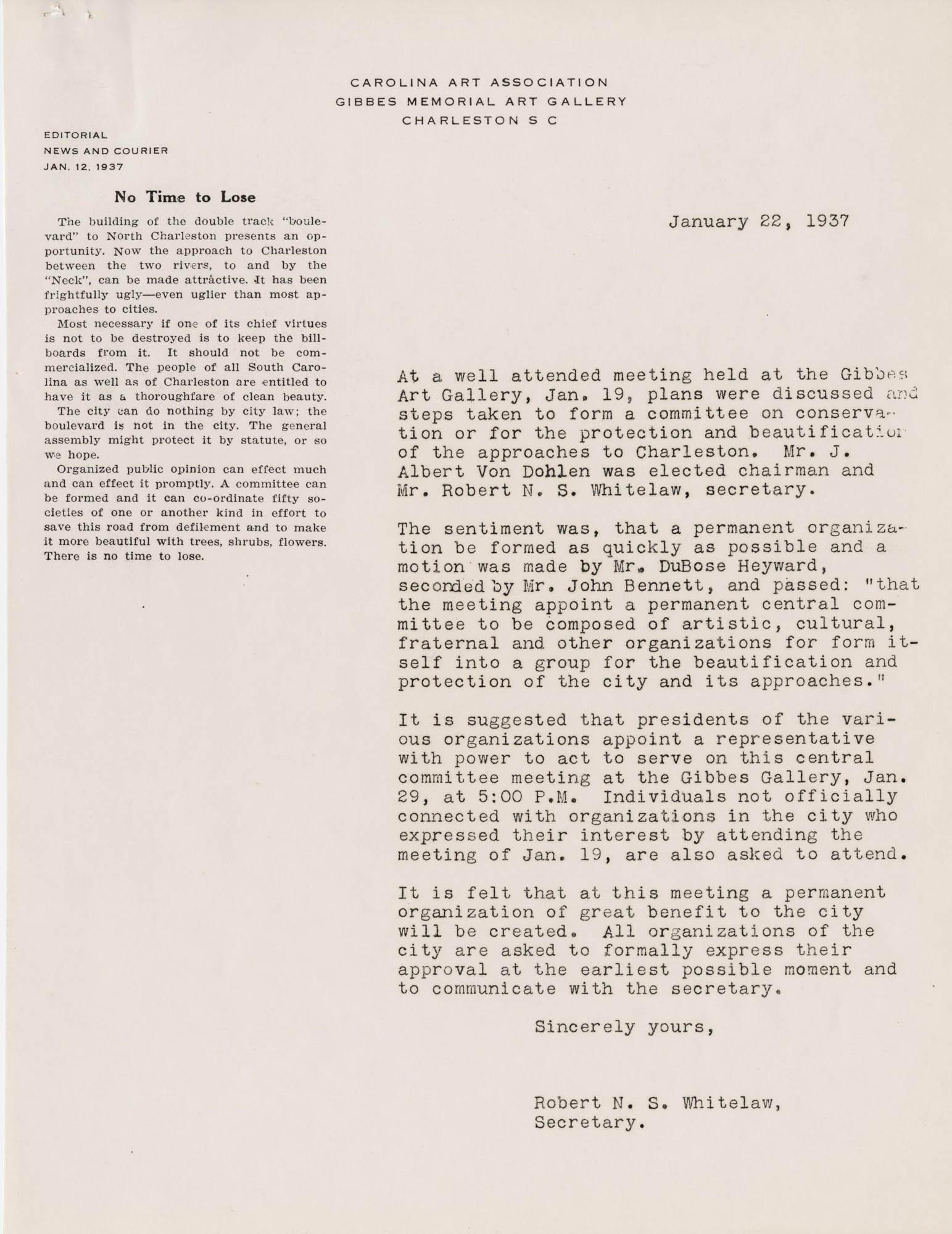 Folder 48: Whitelaw Letter 2