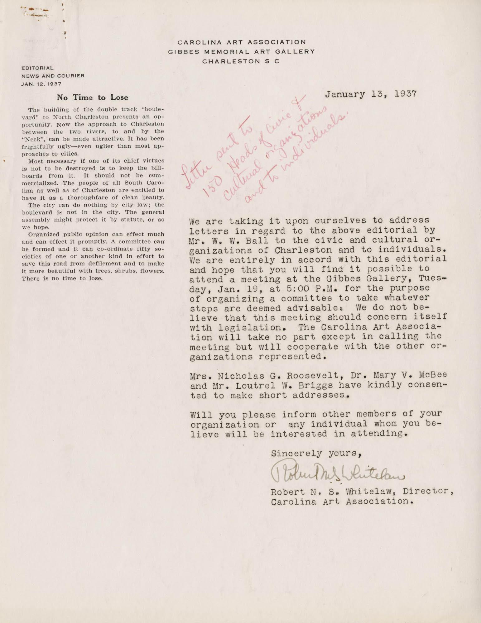 Folder 48: Whitelaw Letter 1