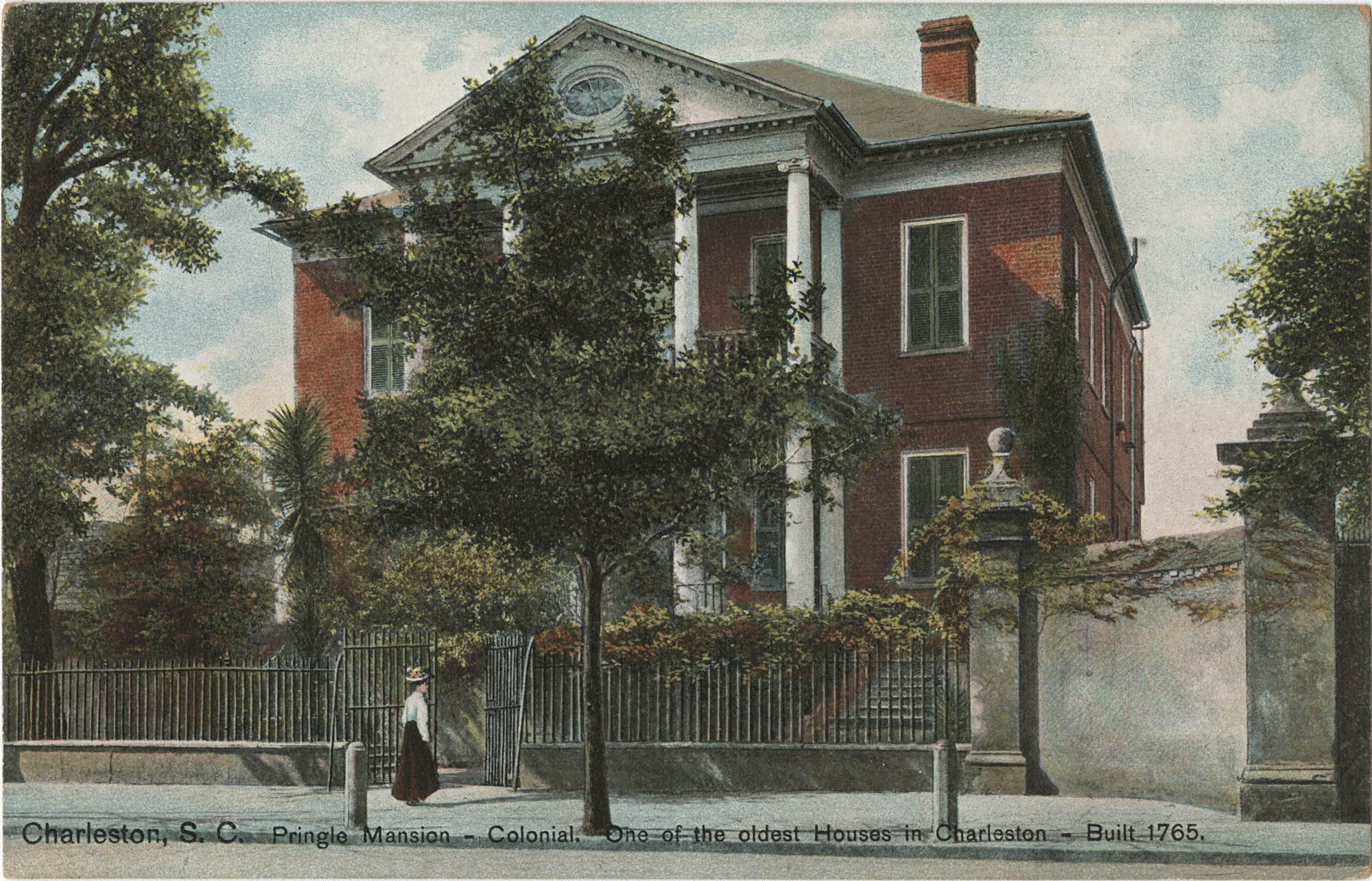 Charleston, S.C. Pringle Mansion-Colonial. One of the oldest Houses in Charlston-Built 1765