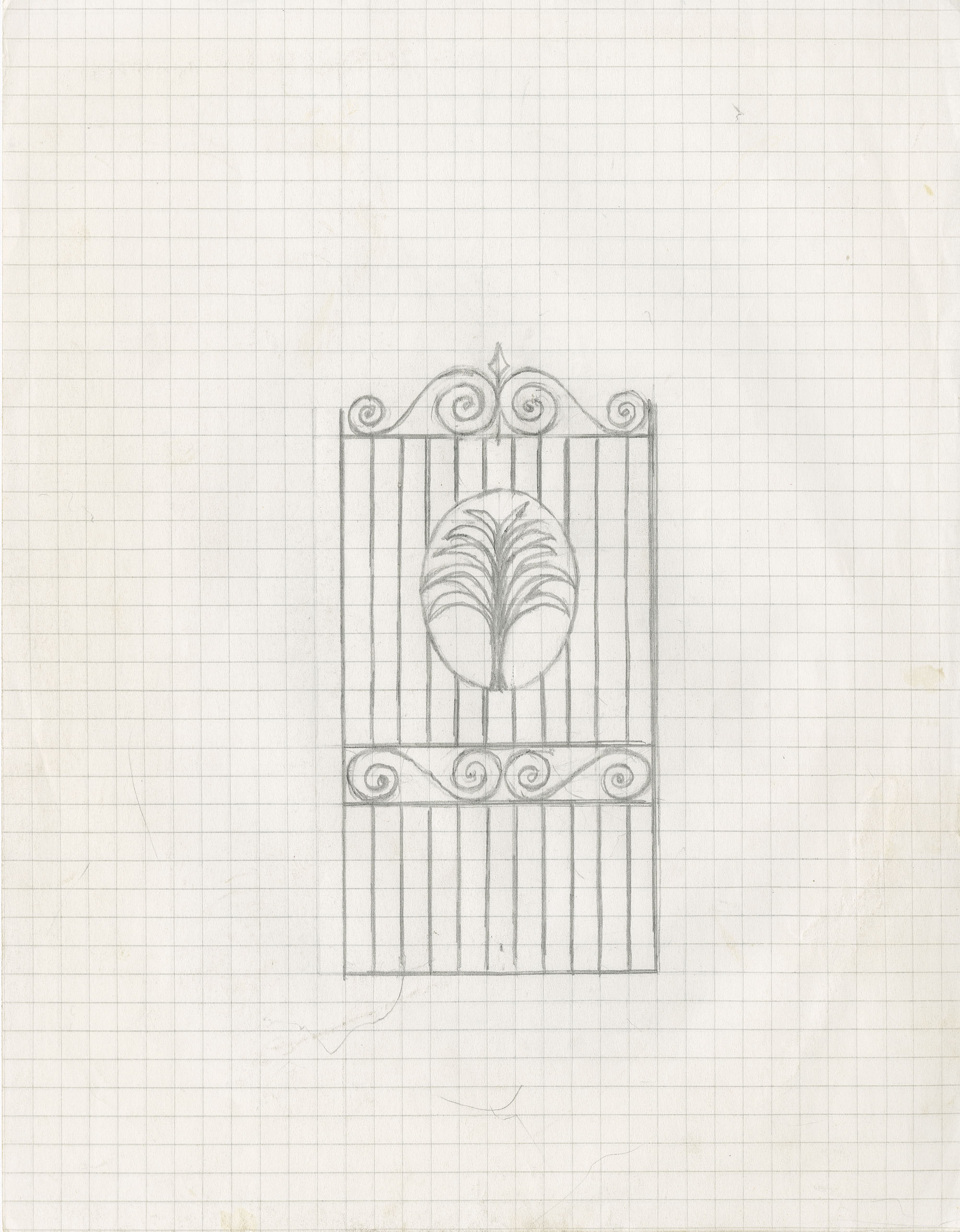 Unidentified gate with center Palmetto above scrolls and scrolled top