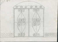 Unidentified gate with star top border and scrolled hearts