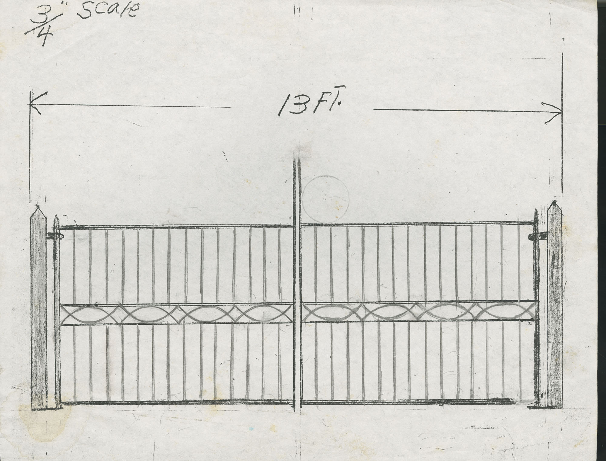 Unidentified gate with centered half circle design