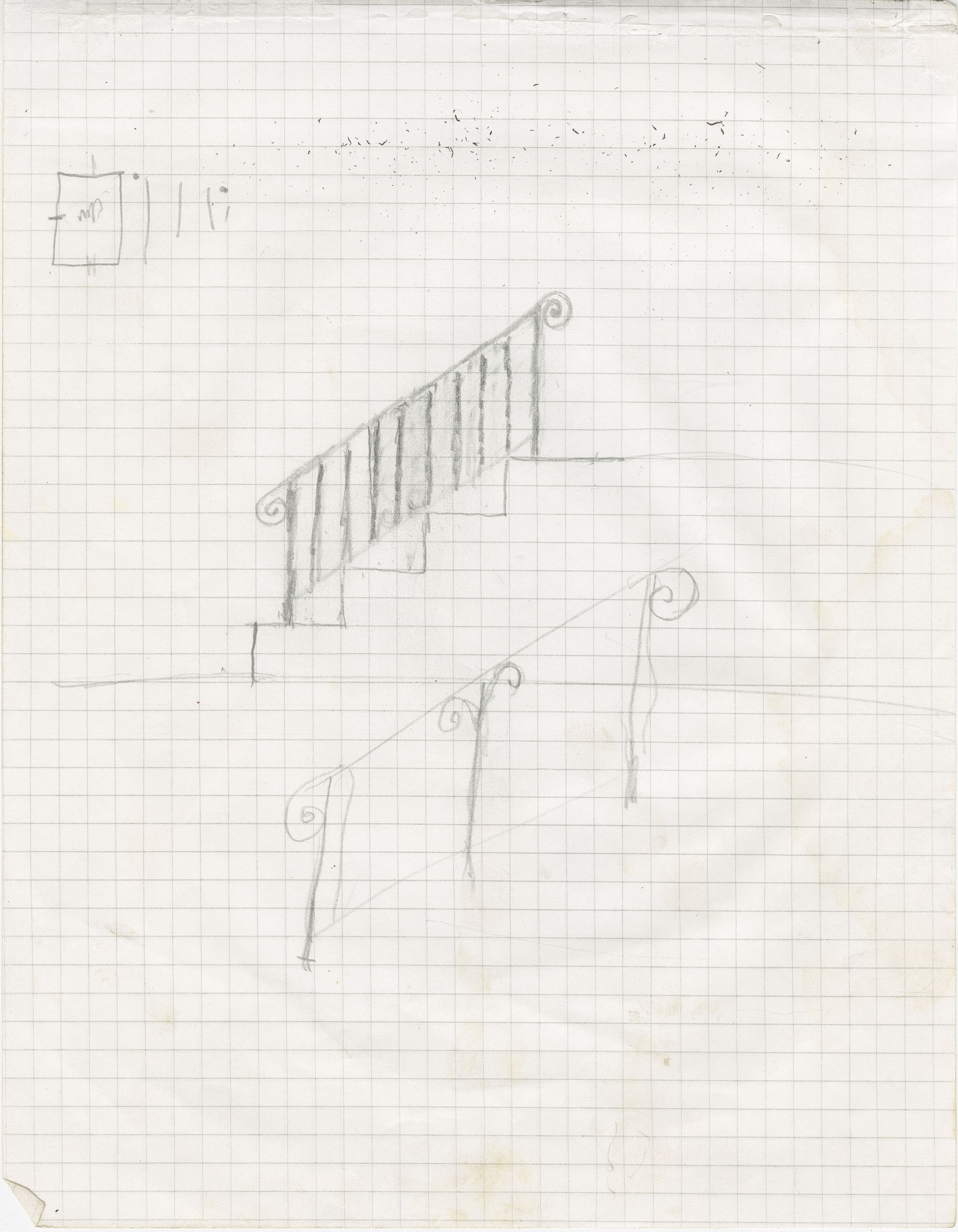 Unidentified stair rail with scrolls on both ends