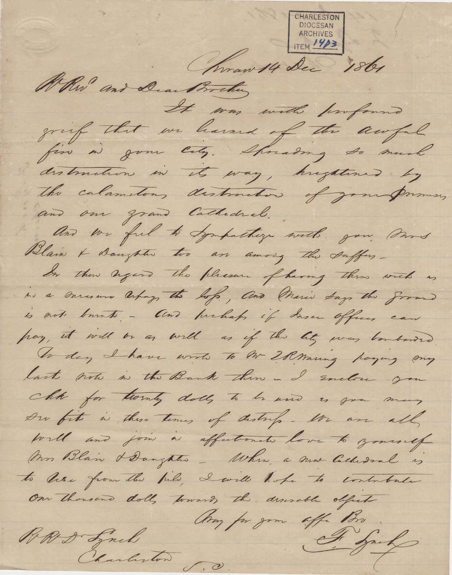 187. Francis Lynch to Bp Patrick Lynch -- December 14, 1861