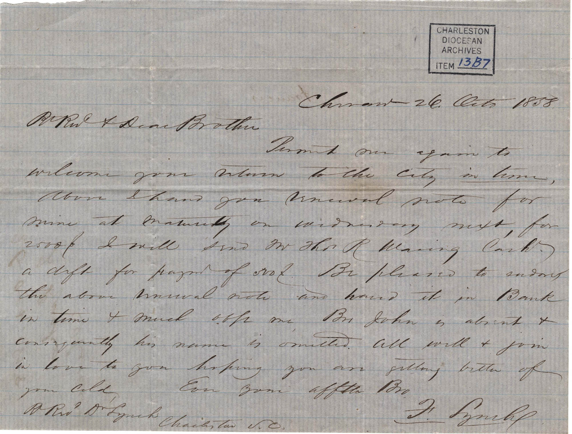 018. Francis Lynch to Bp Patrick Lynch -- October 26, 1858