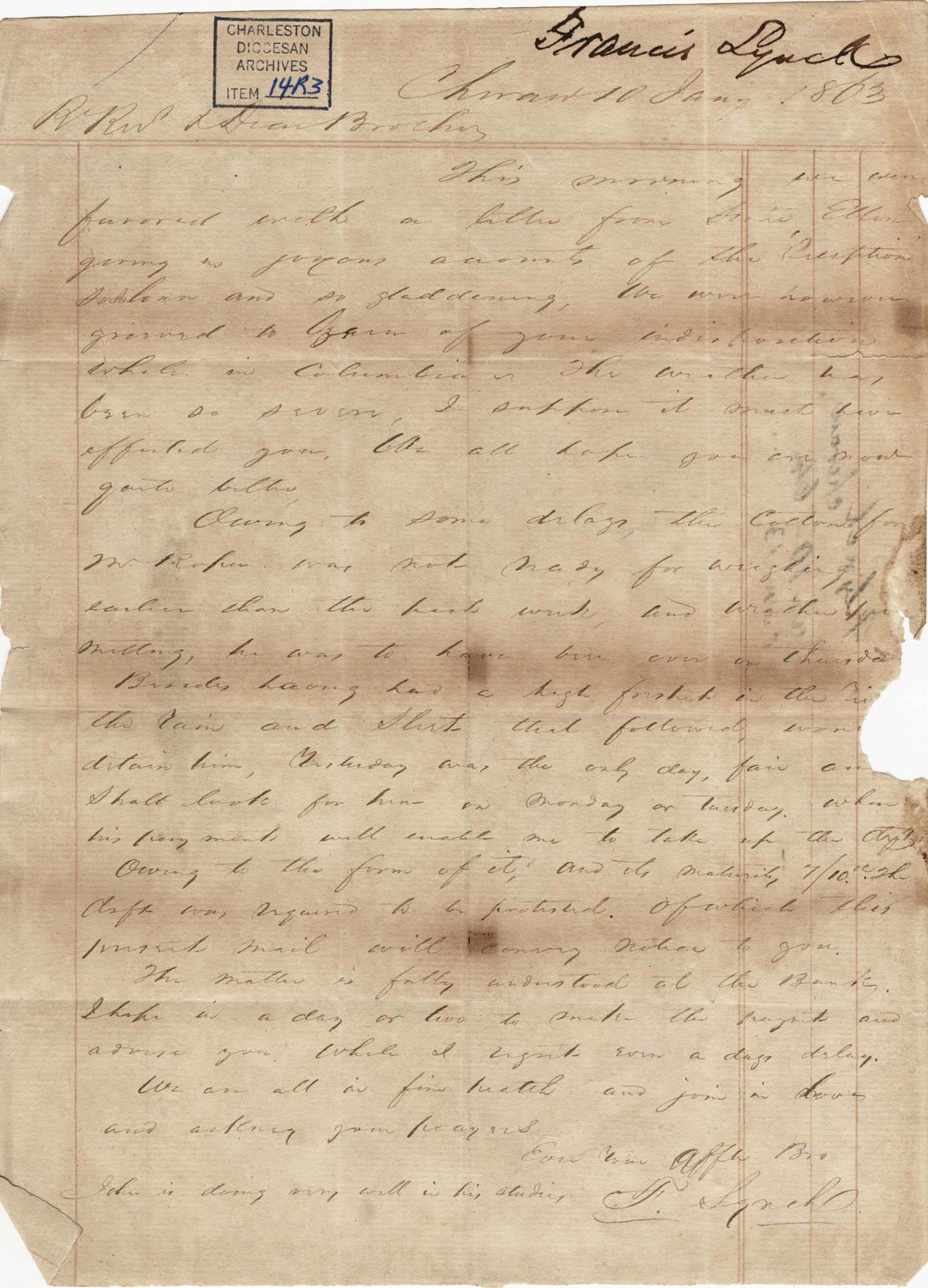 258. Francis Lynch to Bp Patrick Lynch -- January 10, 1863