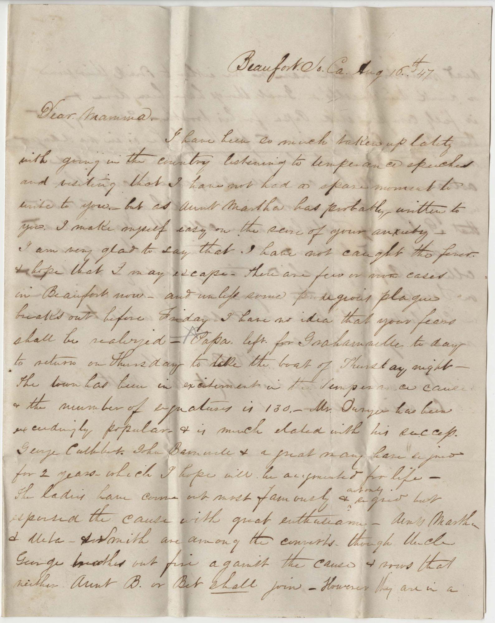260.  Robert Woodward Barnwell to Catherine Osborn Barnwell -- August 16, 1847