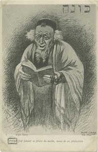 Juif faisant sa prière du matin, muni de ses phylactères