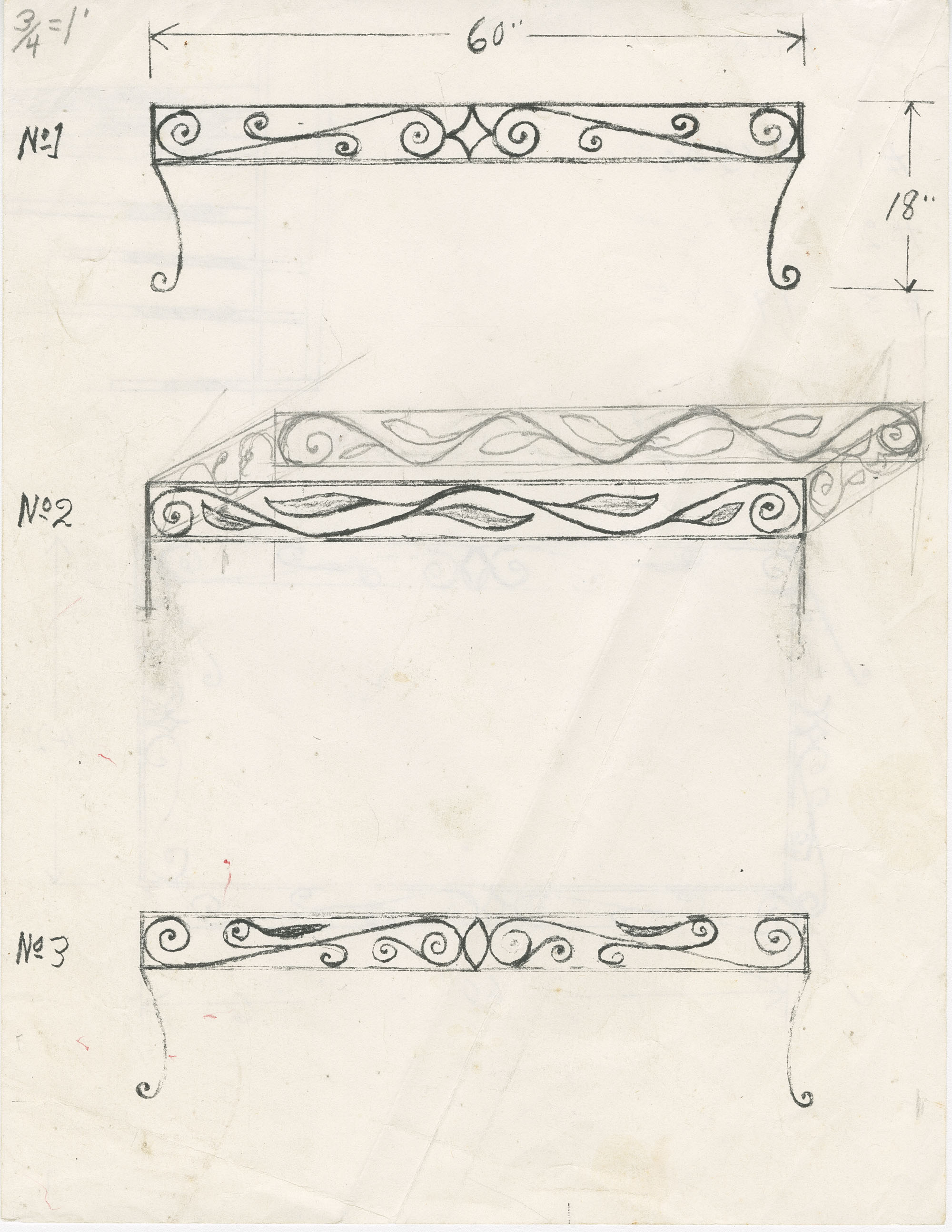 Unidentified coffee table frame designs in graphite and photocopied (8 1/2