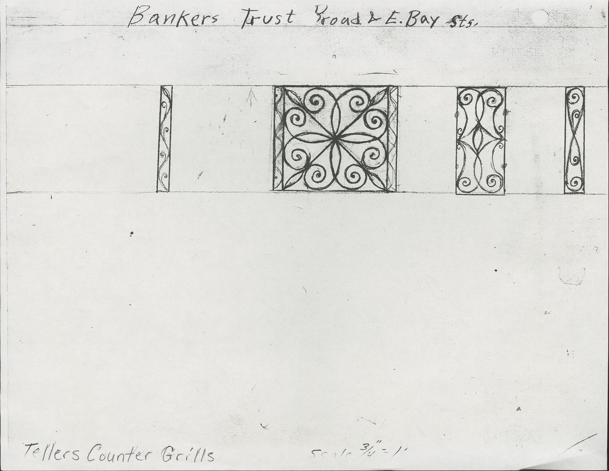 1 Broad Street (East Bay Street) teller counter grills drawing for Bankers Trust