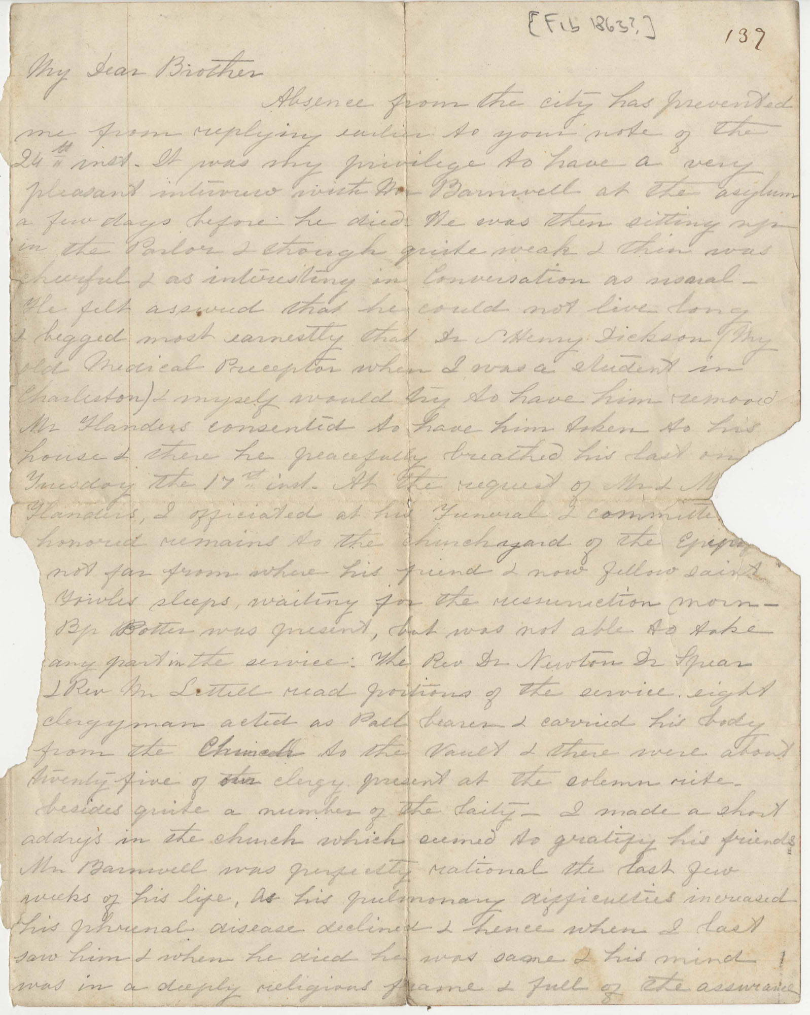 210.  William Bacon Stevens to Robert Woodward Barnwell -- 1863