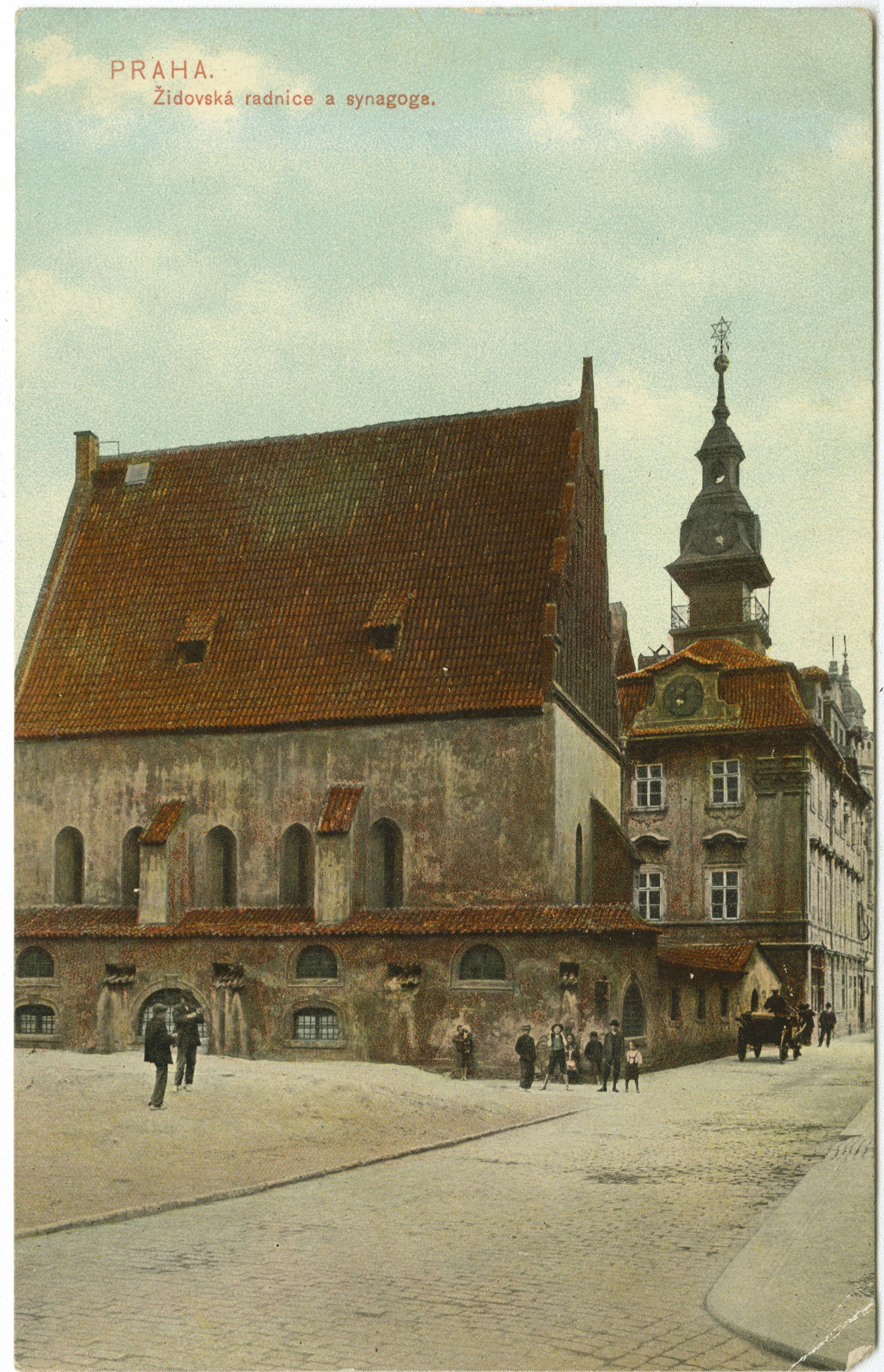 Praha. Židovská radnice a synagoga.