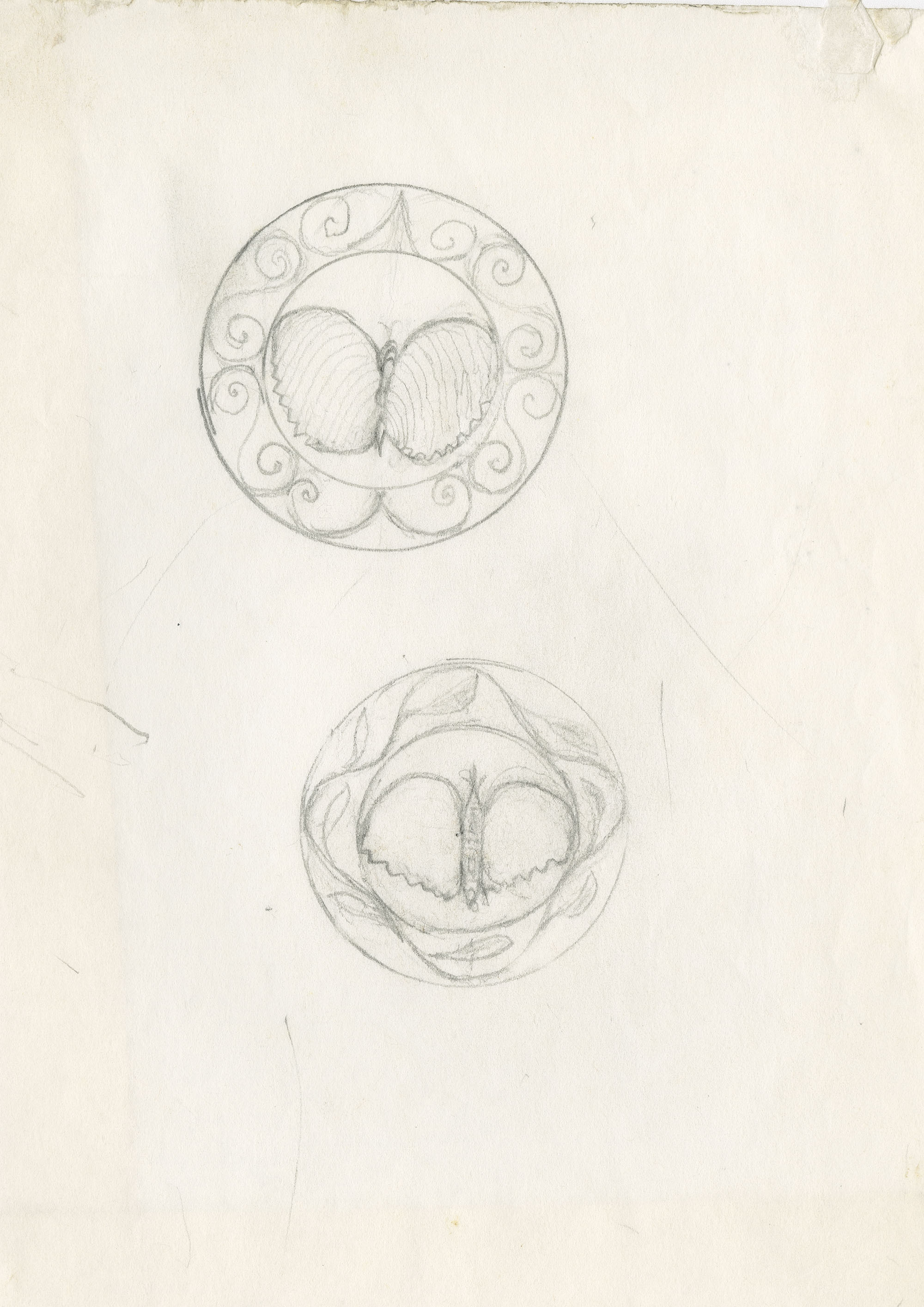 Sketches with butterfly centers, one surrounded by scrolls, the other with leaves