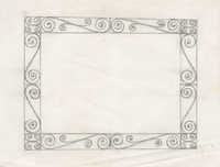 Square table frame design with several scrolls