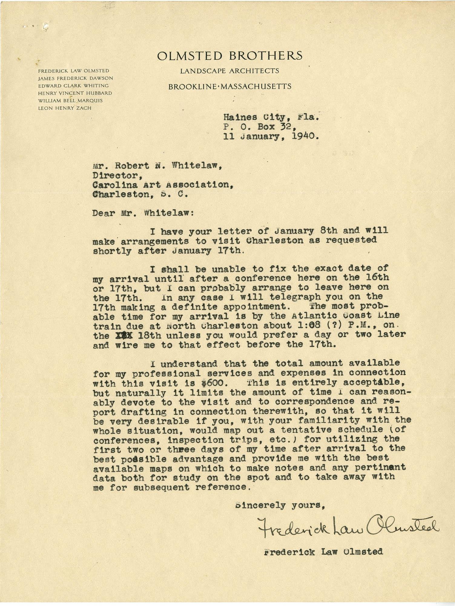 Folder 20: Olmsted Letter 4