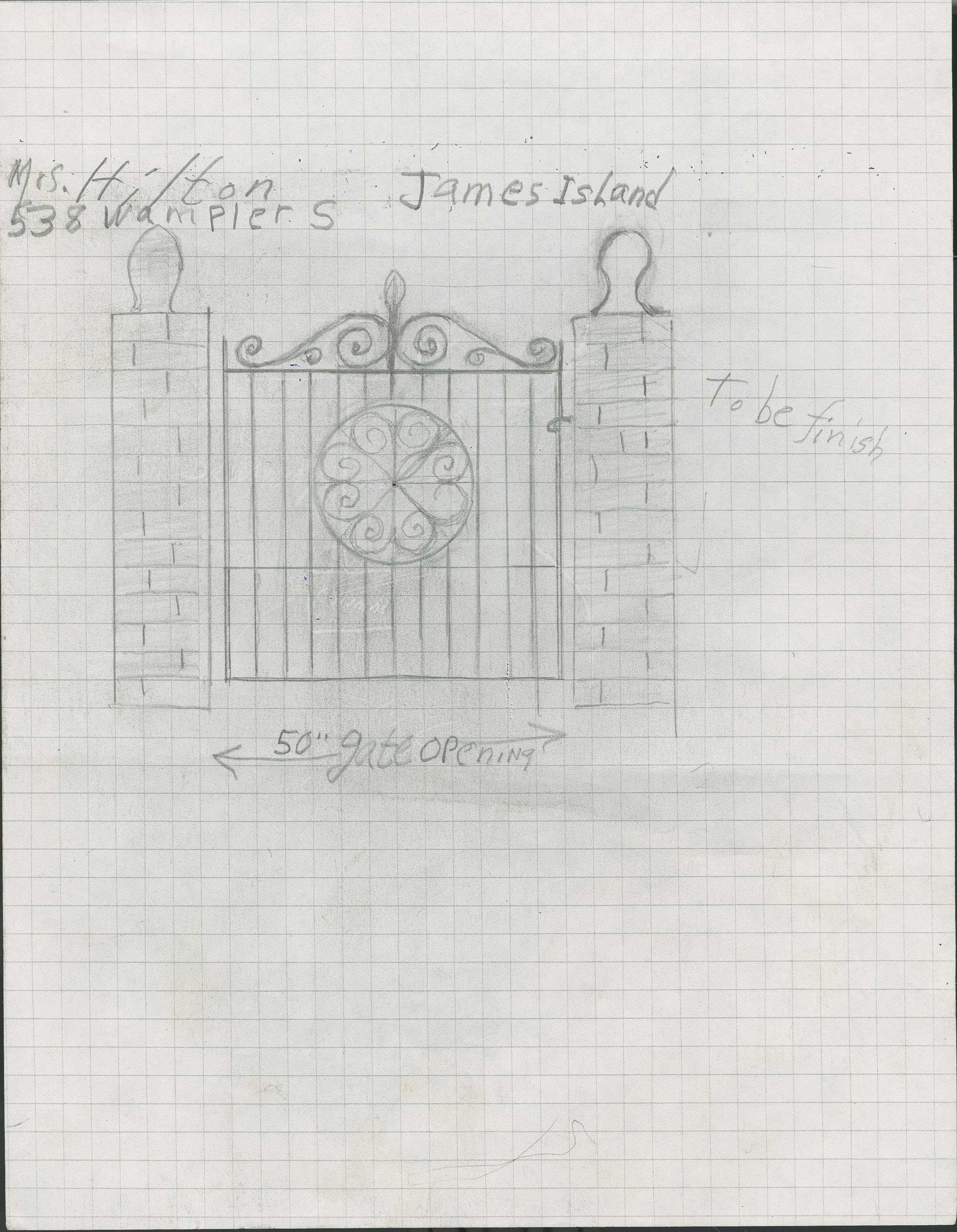 538 Wampler Drive, James Island, South Carolina entrance gate drawings and estimate.