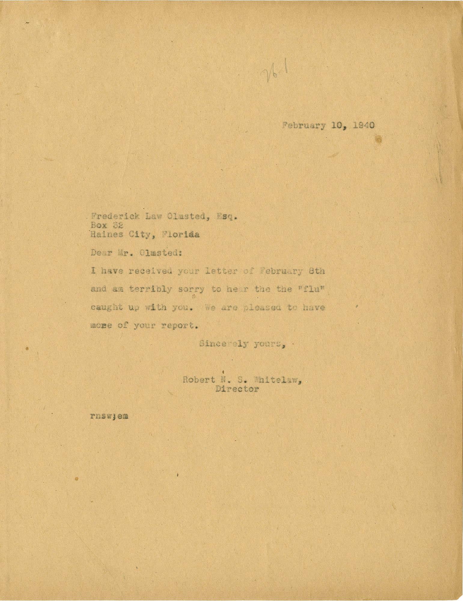 Folder 20: Whitelaw Letter 8