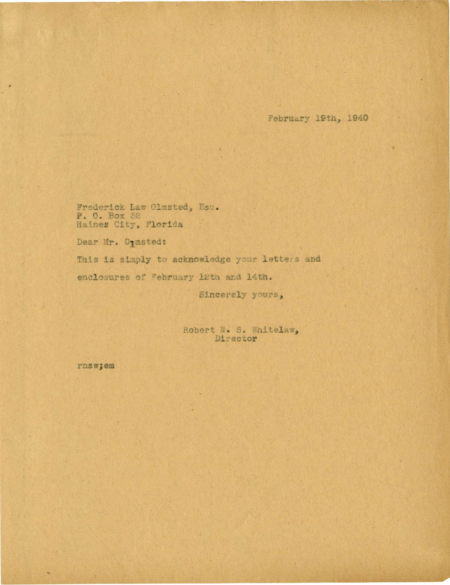 Folder 20: Whitelaw Letter 10