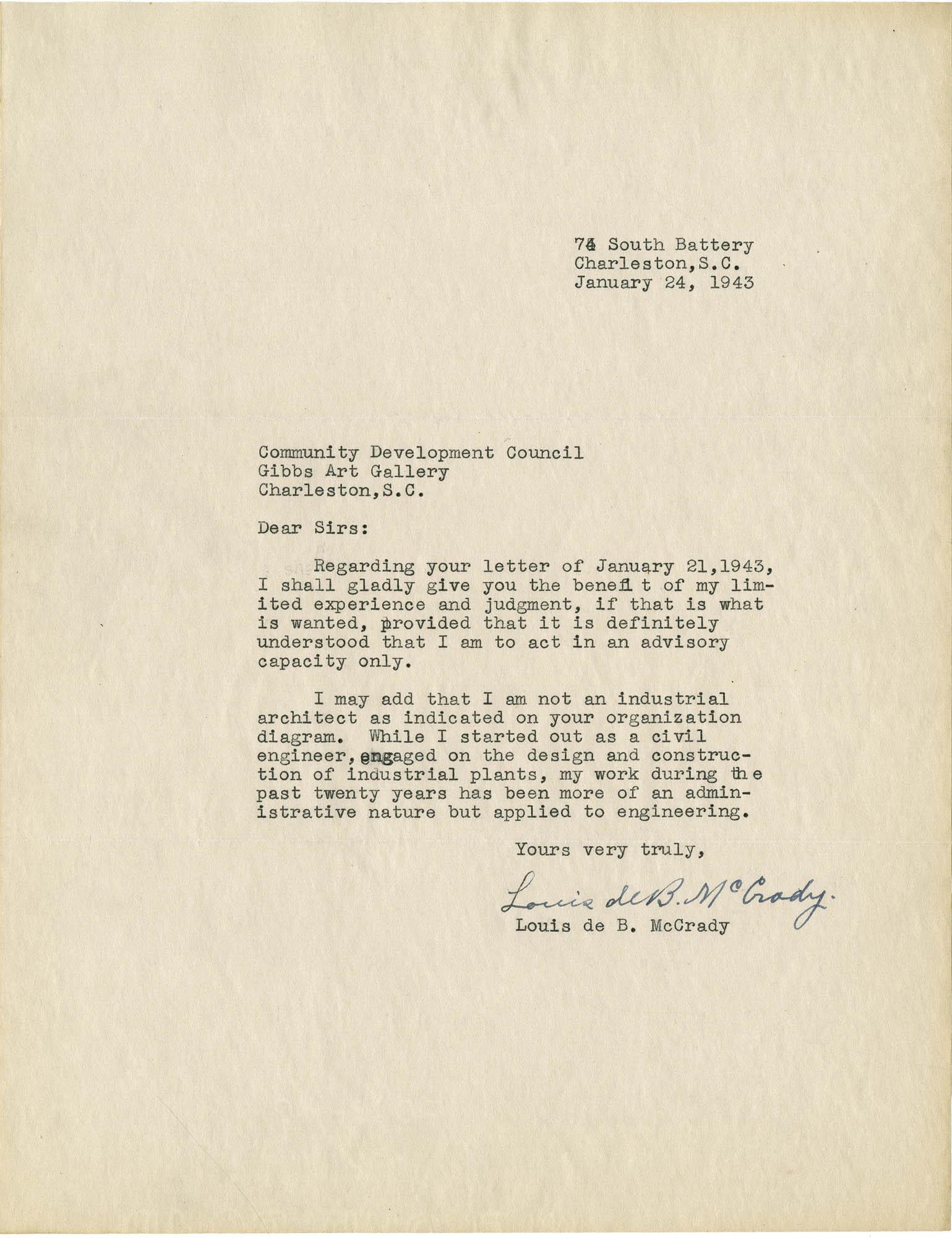Folder 32: McCrady Letter