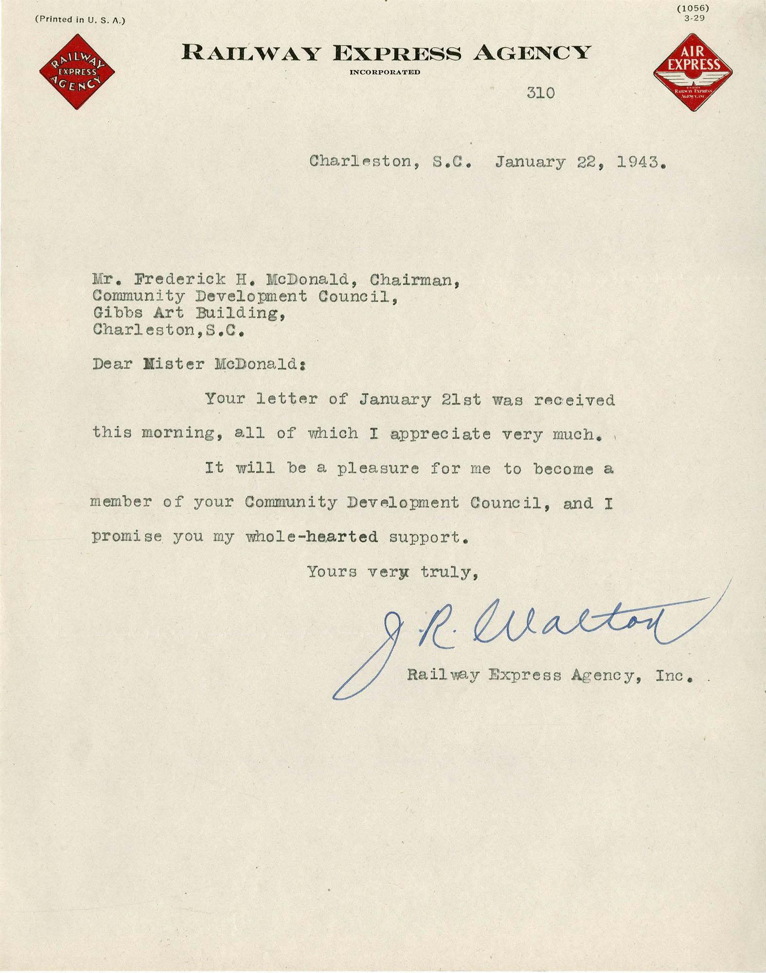 Folder 32: Walter Letter