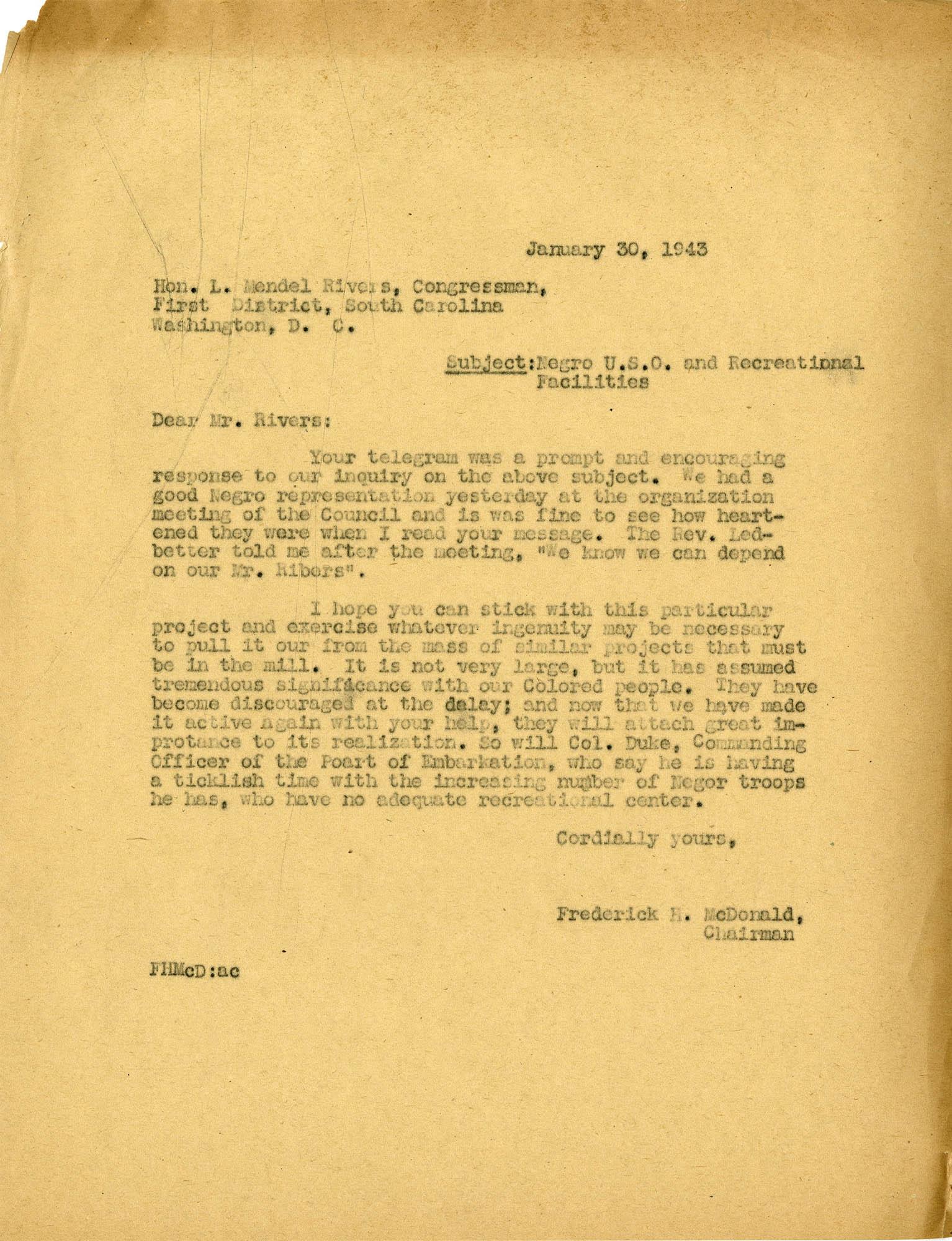 Folder 32: McDonald Letter 4