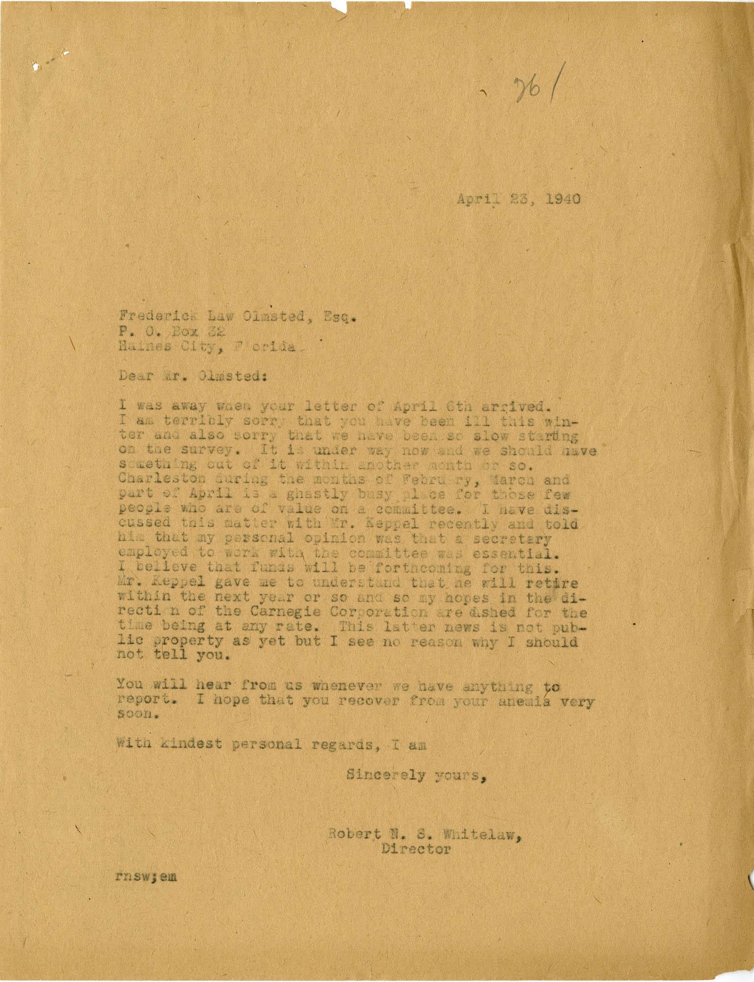 Folder 20: Whitelaw Letter 14