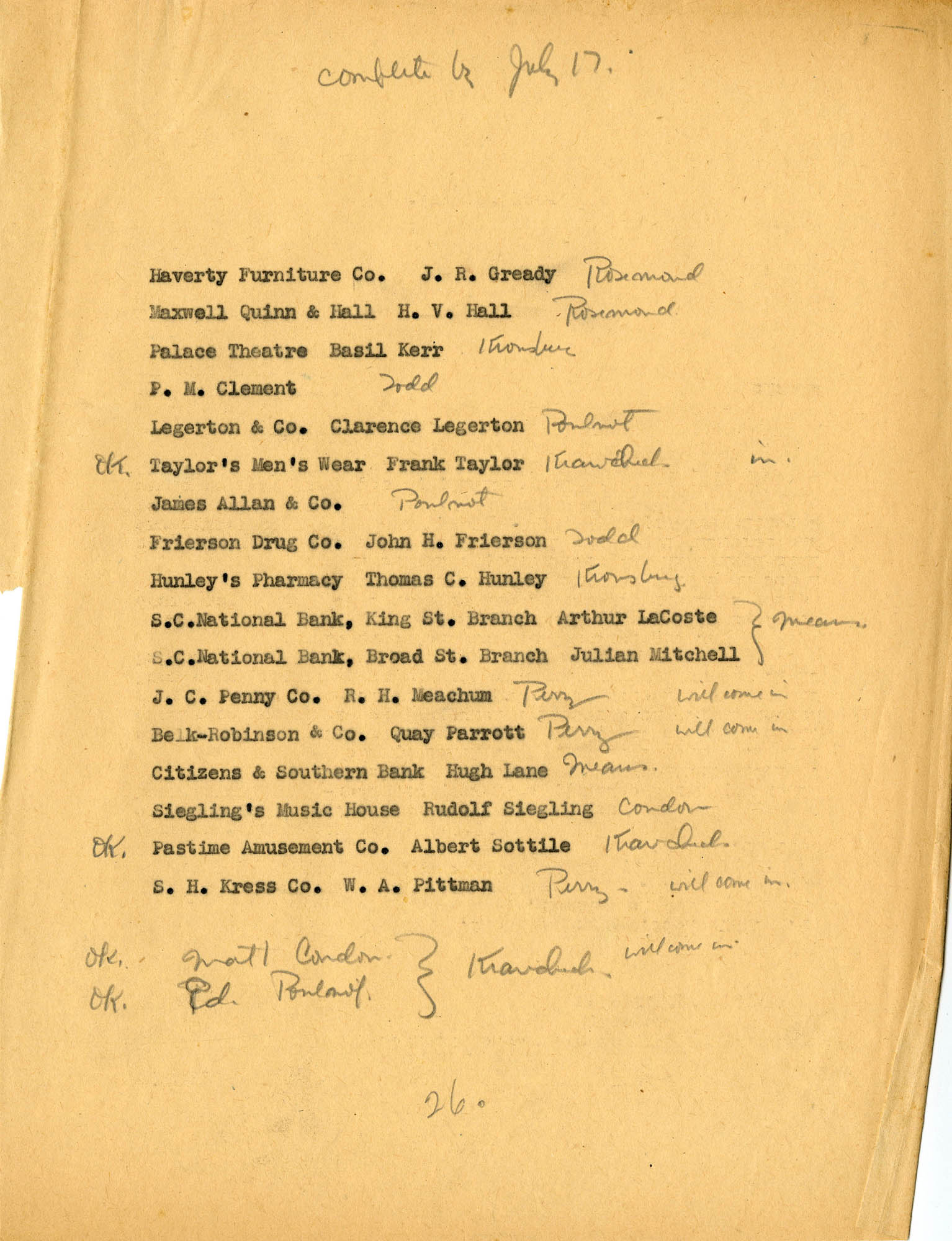 Folder 40: Questionnaire List