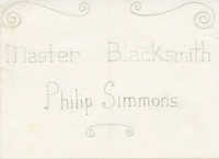 Master Blacksmith Philip Simmons with scrolls above and below