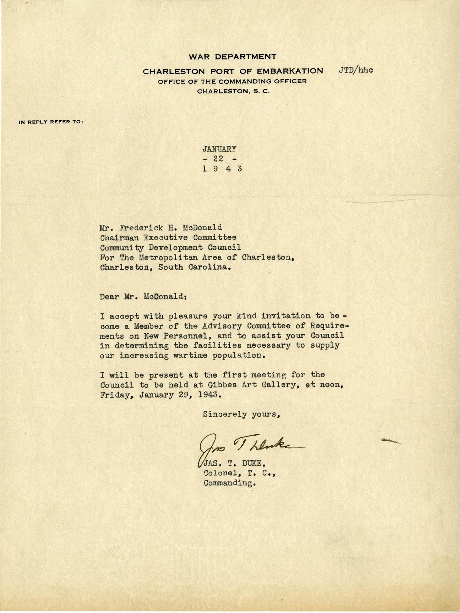 Folder 32: Duke Letter