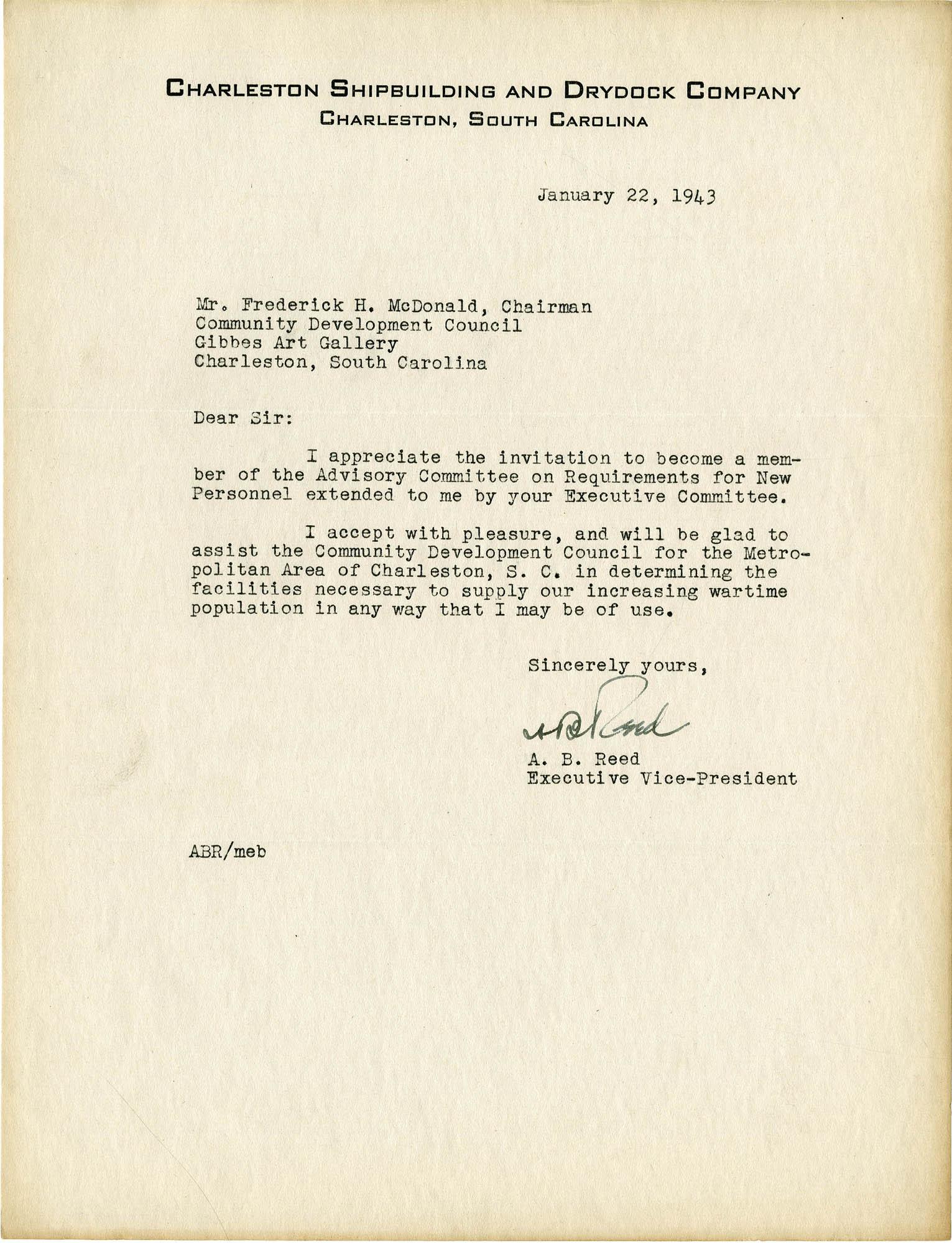 Folder 32: Reed Letter