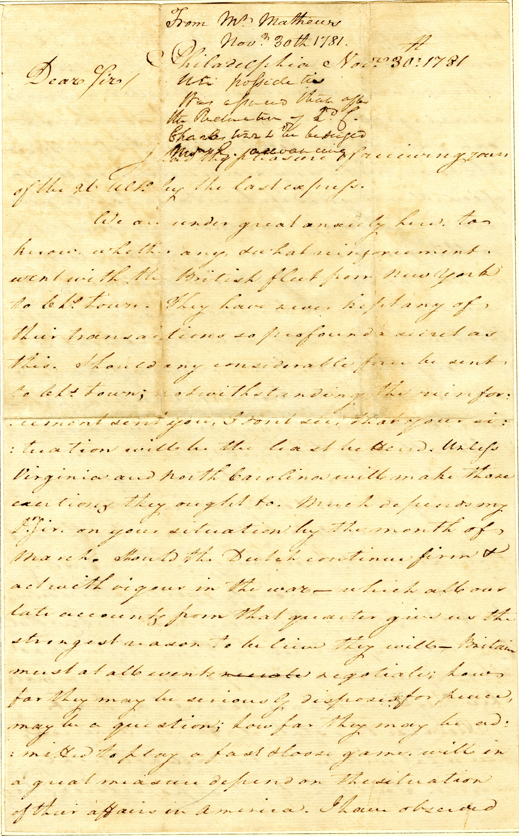 Letter from John Mathews to Nathanael Greene