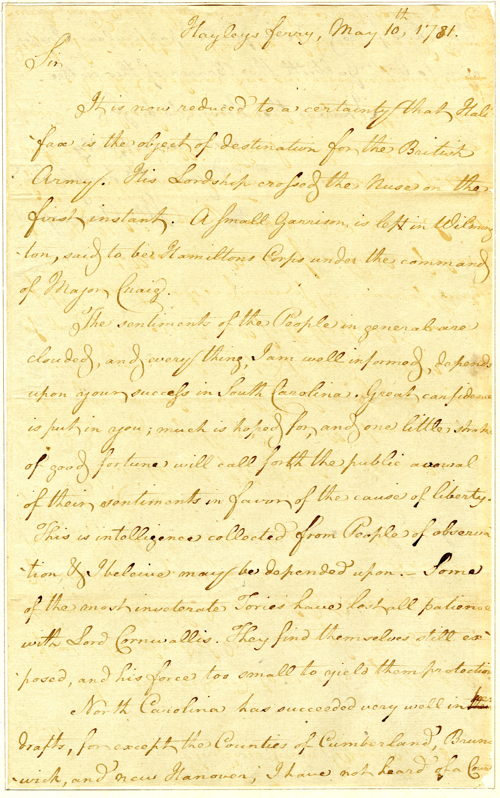 Letter from William Pierce, Jr. to Nathanael Greene