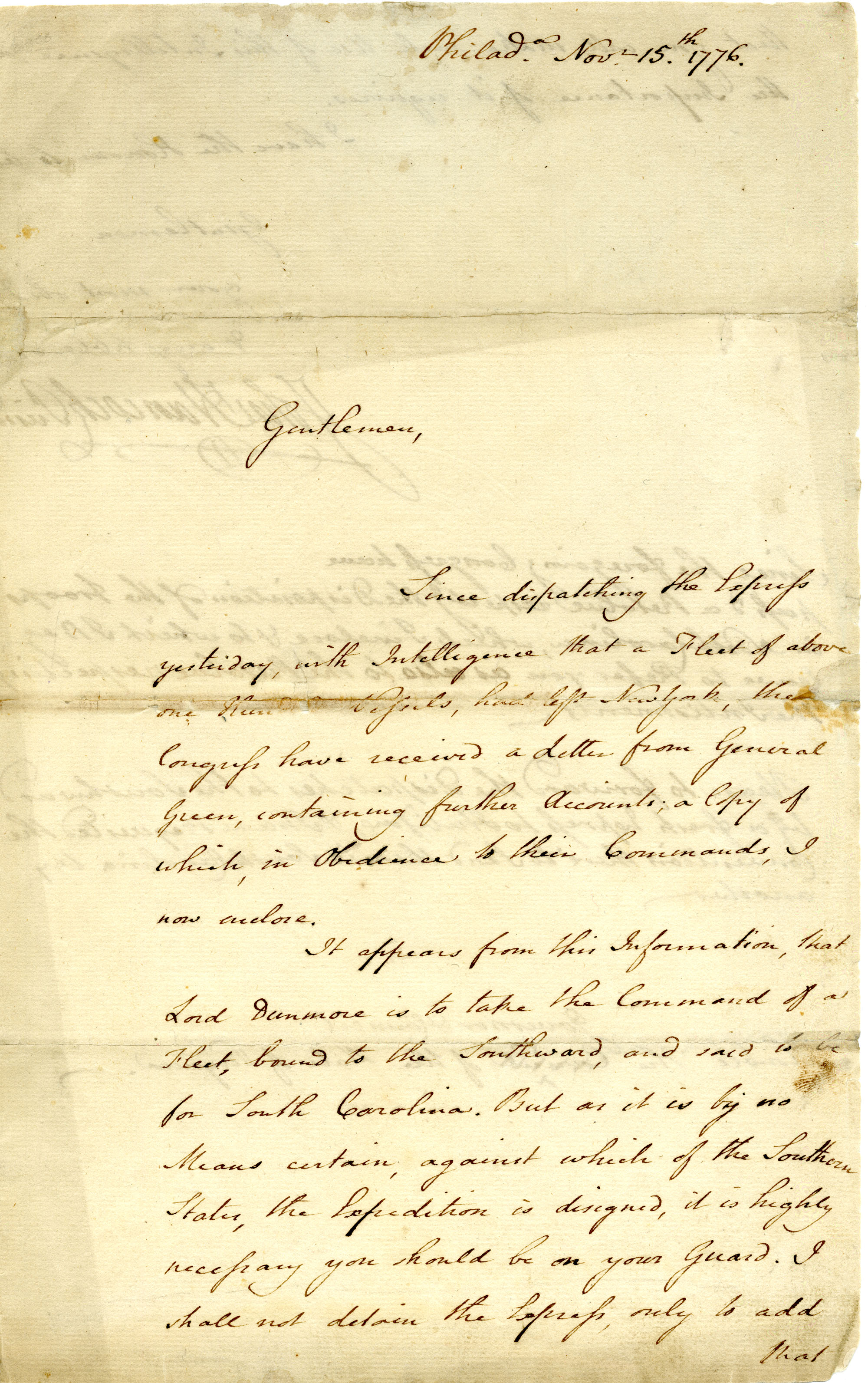 Letter from John Hancock to the Governor and Council of the State of Virginia