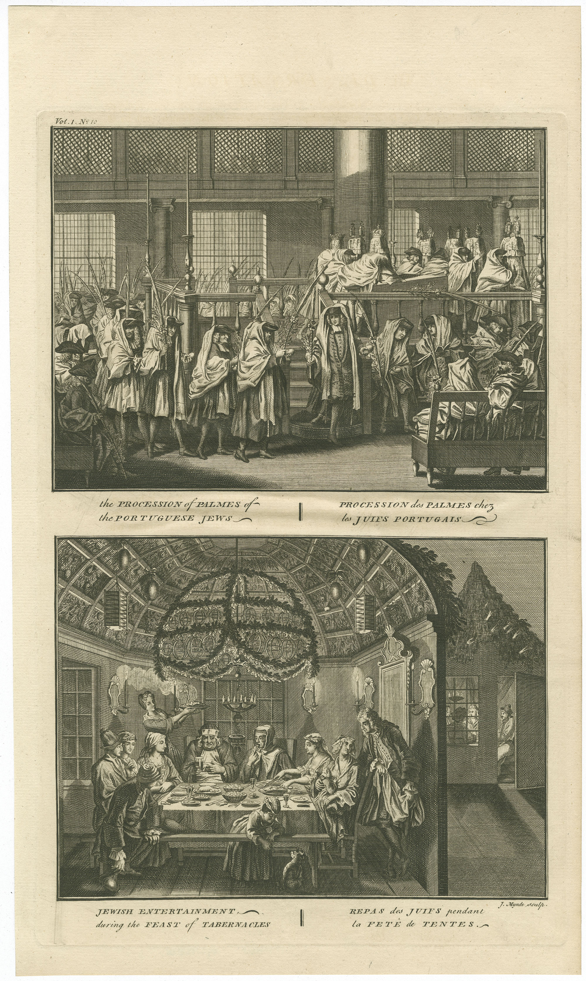 The Procession of the Palmes of the Portuguese Jews / Procession des Palmes chez les Juifs Portugais - Jewish entertainment during the Feast of Tabernacles / Repas des Juifs pendant la Fête des Tentes