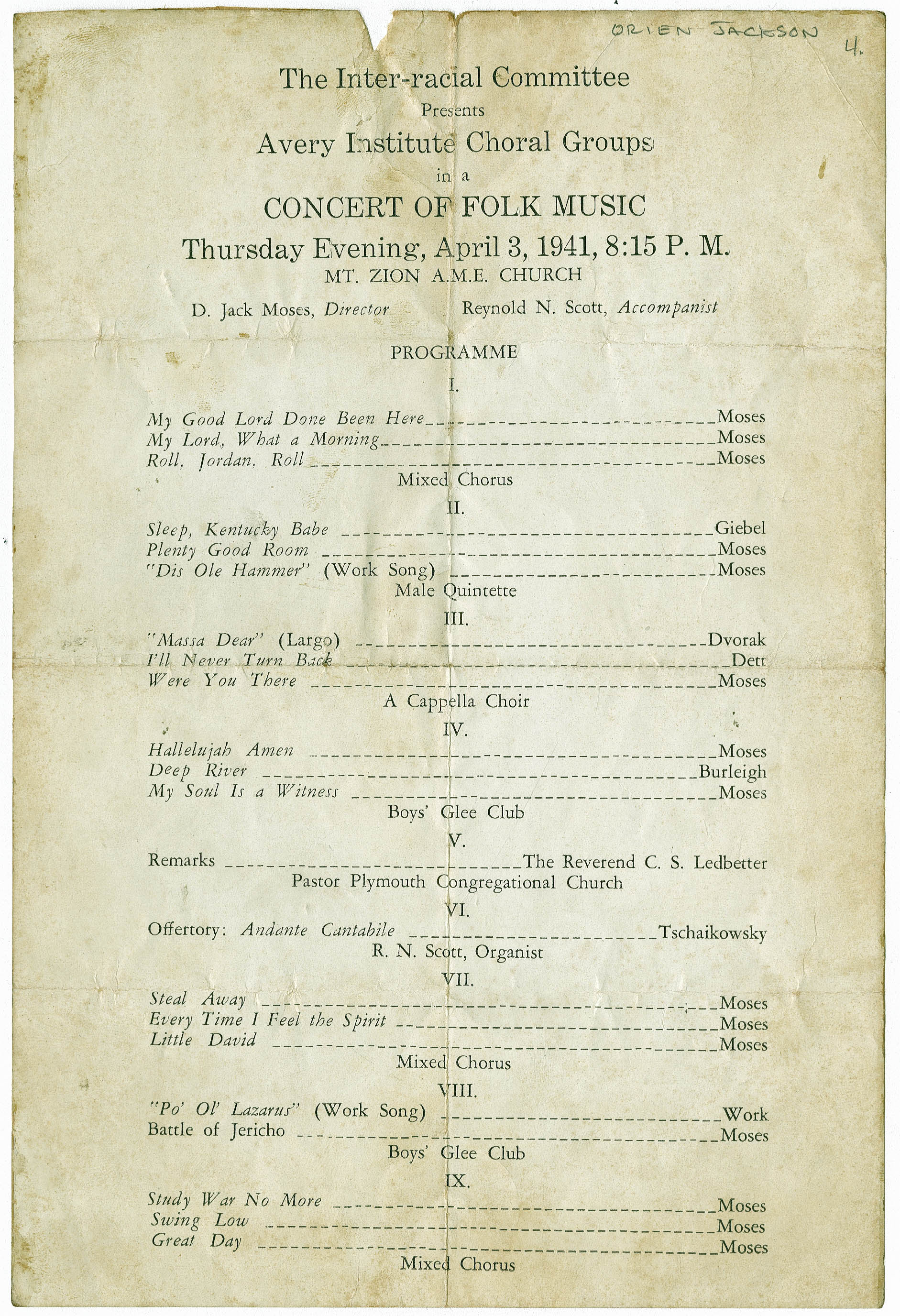 Program for folk music concert by the Avery Institute Choral Groups