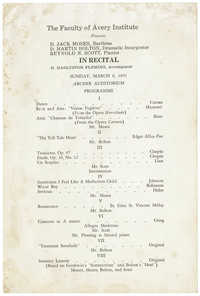 Program for recital by Avery Institute faculty