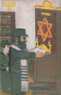 Chazan v bet hamidráši na Podkarpatské Rusi (kolem 1940, olej na lepence) / The hazan at beth hamidrash in Carpathian Rughenia (circa 1940, oil on cardboard)