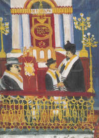 Bar micva v Templu (1941, olej na plátně) / Bar mitzvah in the Temple (1941, oil on canvas)