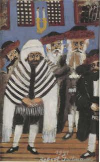 Chasidé v synagóze na Podkarpatské Rusi (1941, olej na lepence) / Hasidim in a synagogue in Carpathian Ruthenia (1941, oil on cardboard)