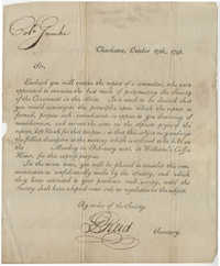 Letter to John F. Grimke from G. Reid, Secretary of the Society of the Cincinnati, October 17, 1798