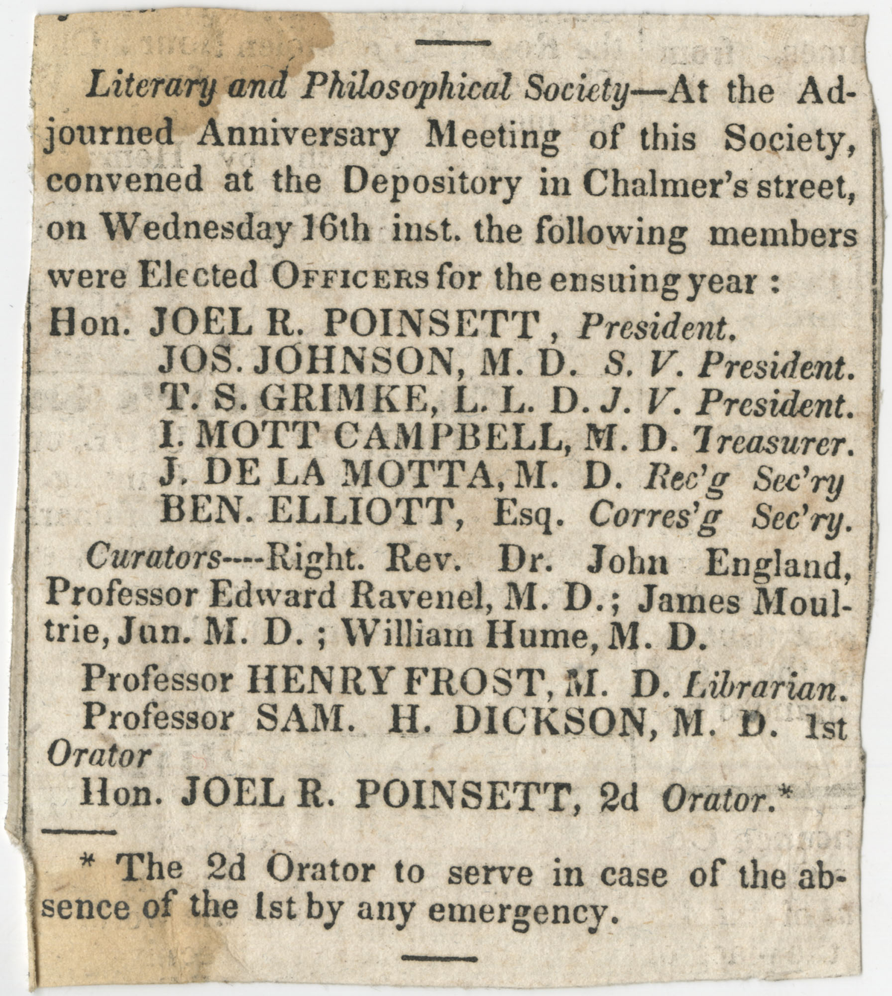 Newspaper clipping announcing the anniversary meeting of the Literary and Philosophical Society, undated