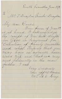 Letter from Mrs. H.E. Day to J. Drayton Grimke-Drayton, June 8, 1891