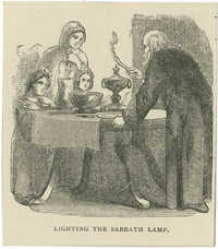 Lighting the Sabbath lamp