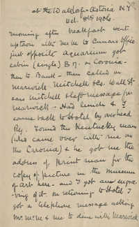 Unaddressed letter by Theodore Drayton Grimke-Drayton detailing a trip to New York City, October 8, 1906