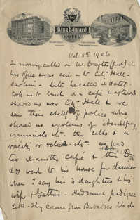 Unaddressed letter by Theodore Drayton Grimke-Drayton detailing a trip [to Canada?], October 5, 1906