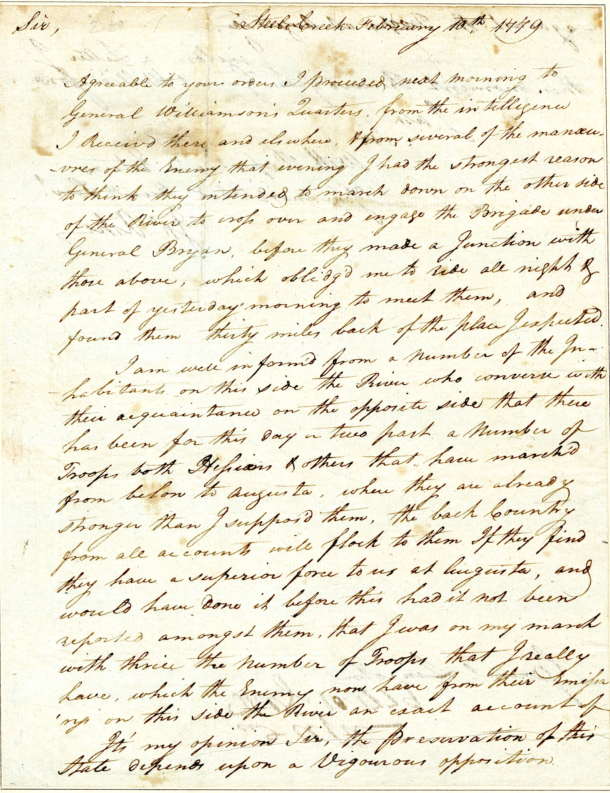 Letter from John Ashe to Benjamin Lincoln
