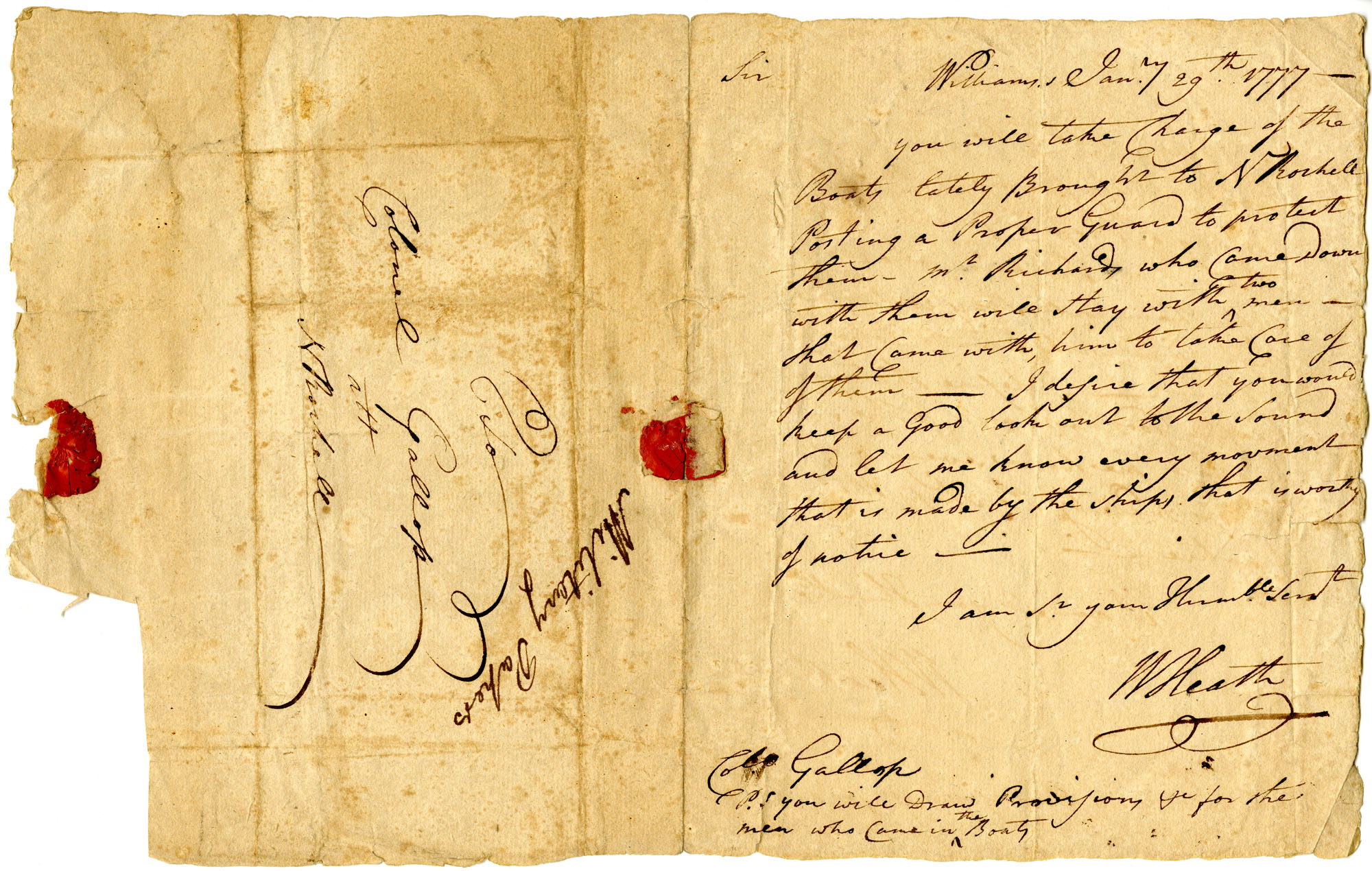 Letter from William Heath to Colonel Gallop [Gallup?]