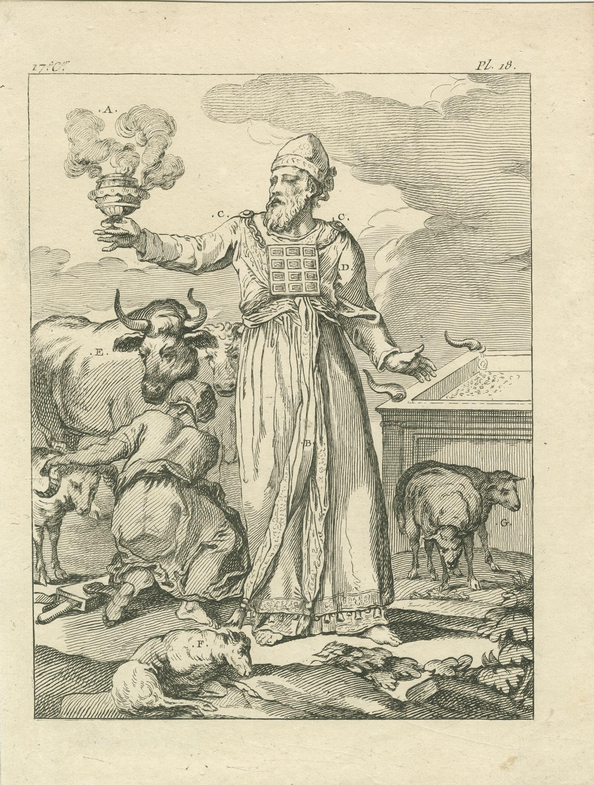 [Des Auteurs prétendent qu'en certain jours, lorsque le Grand-Prêtre offroit, au nom d'un particulier, l'encens au Seigneur, & immoloit des holocaustes, il ne portoit qu'un éphod pareil à celui des simples Prêtres…]