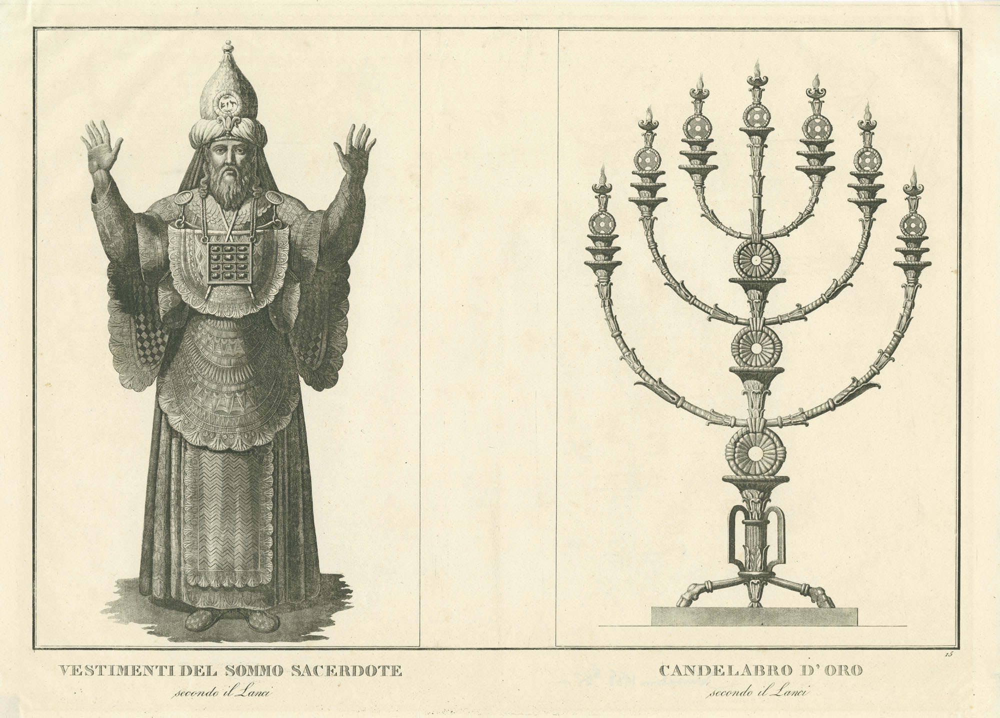 Vestimenti del sommo Sacerdote, secondo il Lanci / Candelabro d'oro, secondo il Lanci