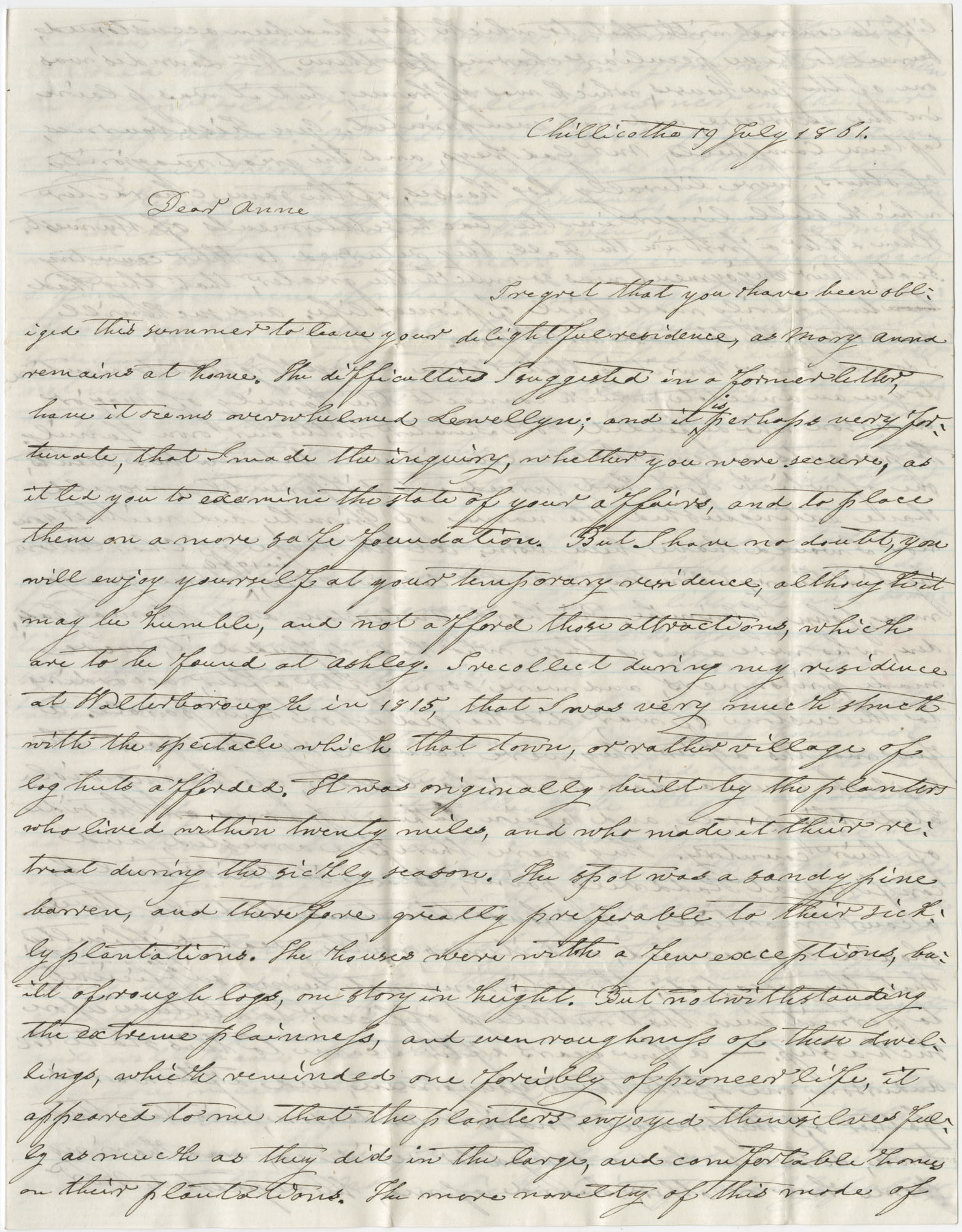 Letter to Anna R. Frost from Frederick Grimke, July 19, 1861